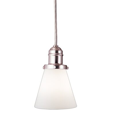 Birchover 1-Light Mini Pendant with Opal Shade Finish: Satin Nickel, Size: 10.75 H x 4.75 W x 4.75 D