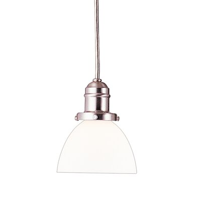 Birchover Contemporary 1-Light Mini Pendant with Opal Shade Finish: Satin Nickel, Size: 10.5 H x 6 W x 6 D