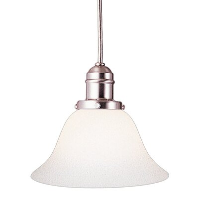 Birchover Contemporary 1-Light Bell Glass Shade Mini Pendant Finish: Satin Nickel