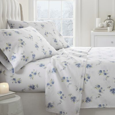 Remington Floral Pattern 4 Piece Sheet Set Size: Full, Color: Light Blue