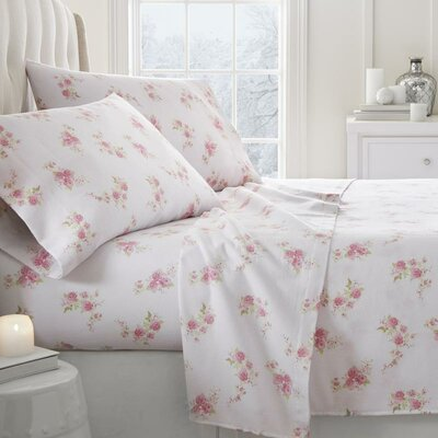Remington Floral Pattern 4 Piece Sheet Set Size: King, Color: Pink