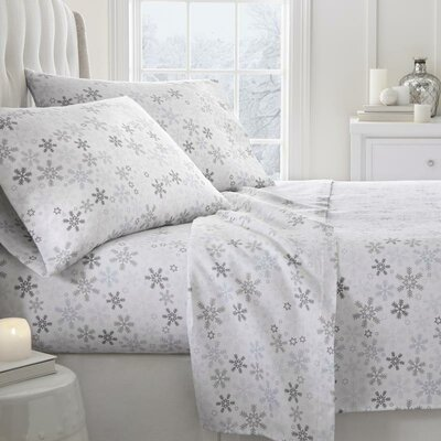 Barnesville Snow Pattern 4 Piece Sheet Set Size: Queen