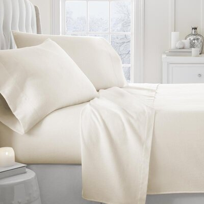 Lessard 4 Piece Sheet Set Size: Queen, Color: Ivory
