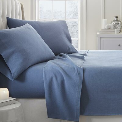 Lessard 4 Piece Sheet Set Size: Full, Color: Light Navy
