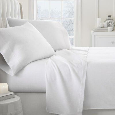 Lessard 4 Piece Sheet Set Size: California King, Color: White
