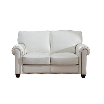 Kiaan Craft Leather Loveseat Upholstery: Ivory White