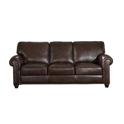 Kiaan Craft Leather Sofa Upholstery: Dark Brown
