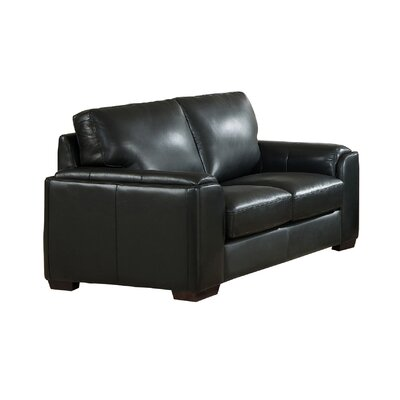 Hadley Craft Leather Loveseat Upholstery: Black
