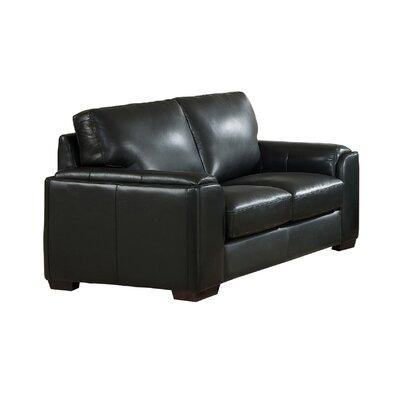 Hadley Craft Leather Loveseat Upholstery: Black