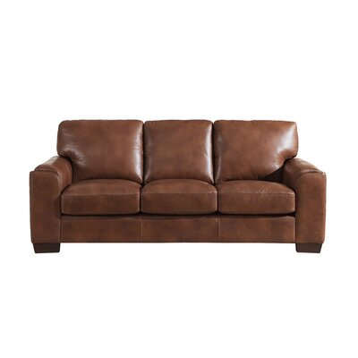 Hadley Craft Leather Sofa Upholstery: Brown