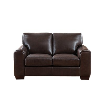 Hadley Craft Leather Loveseat Upholstery: Dark Brown