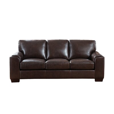 Hadley Craft Leather Sofa Upholstery: Dark Brown