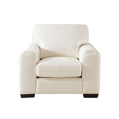 Hadley Leather Armchair Upholstery: Ivory White