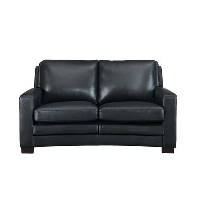 Hadnot Craft Leather Loveseat Upholstery: Black
