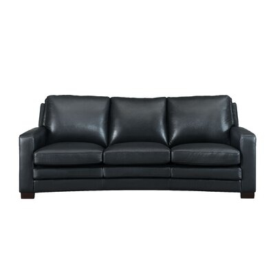 Hadnot Craft Leather Sofa Upholstery: Black