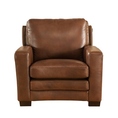 Hadnot Leather Club Chair Upholstery: Brown
