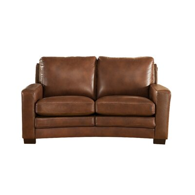 Hadnot Craft Leather Loveseat Upholstery: Brown