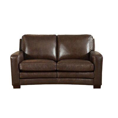 Hadnot Craft Leather Loveseat Upholstery: Dark Brown