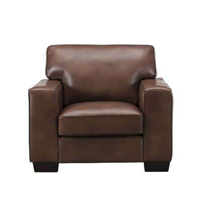 Van Nest Leather Club Chair Upholstery: Brown