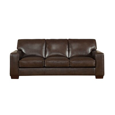 Van Nest Craft Leather Sofa Upholstery: Dark Brown