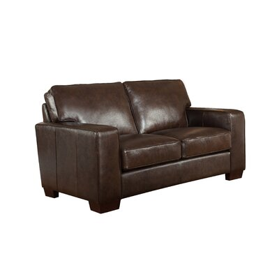 Van Nest Craft Leather Loveseat Upholstery: Dark Brown