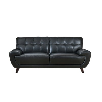 Sterns Craft Leather Loveseat Upholstery: Black