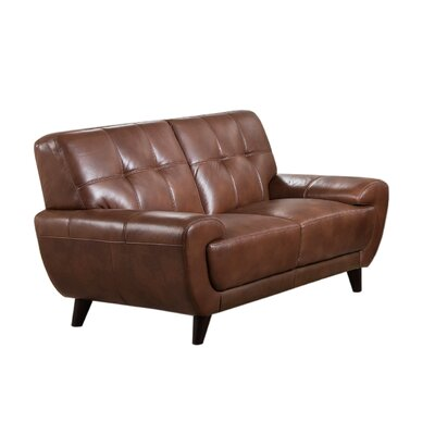 Sterns Craft Leather Loveseat Upholstery: Brown