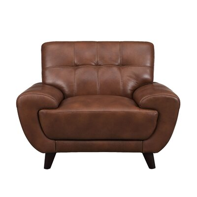 Sterns Leather Club Chair Upholstery: Brown