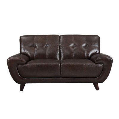 Sterns Craft Leather Loveseat Upholstery: Dark Brown