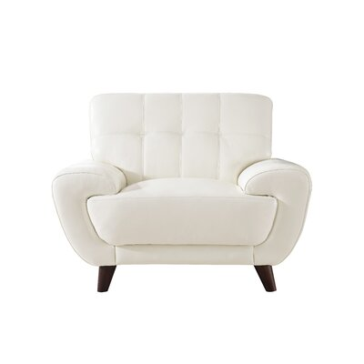 Sterns Leather Club Chair Upholstery: Ivory White
