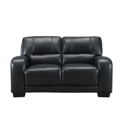 Hadsell Craft Leather Loveseat Upholstery: Black, Size: 37 H x 62 W x 38 D