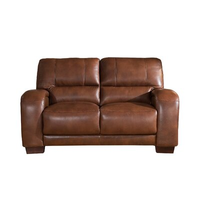 Hadsell Craft Leather Loveseat Upholstery: Brown, Size: 37 H x 62 W x 38 D