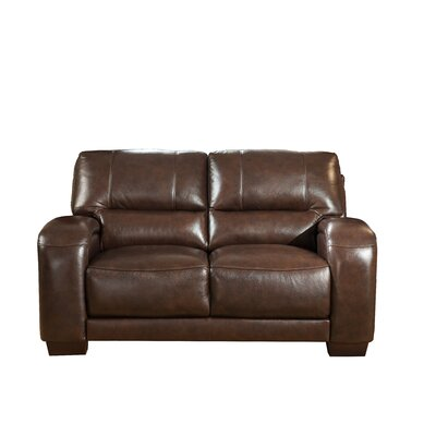 Hadsell Craft Leather Loveseat Upholstery: Dark Brown, Size: 37 H x 79 W x 38 D
