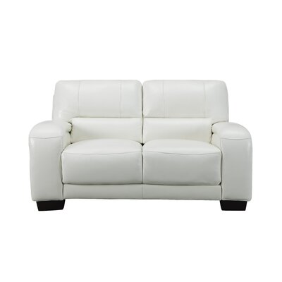 Hadsell Craft Leather Loveseat Upholstery: Ivory White, Size: 37 H x 62 W x 38 D
