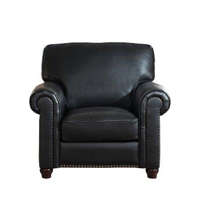 Kiaan Leather Club Chair Upholstery: Black