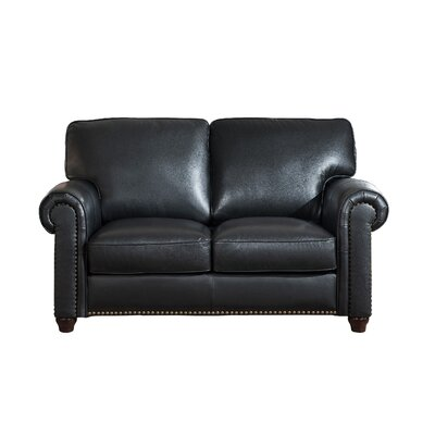 Kiaan Craft Leather Loveseat Upholstery: Black