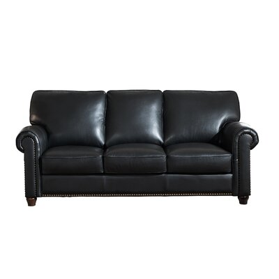 Kiaan Craft Leather Sofa Upholstery: Black