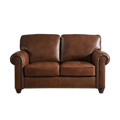 Kiaan Craft Leather Loveseat Upholstery: Brown