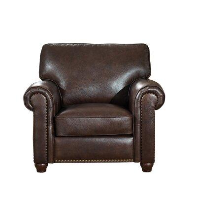 Kiaan Leather Club Chair Upholstery: Dark Brown