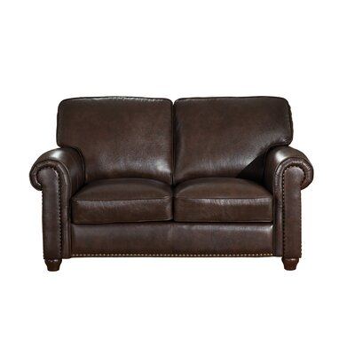 Kiaan Craft Leather Loveseat Upholstery: Dark Brown