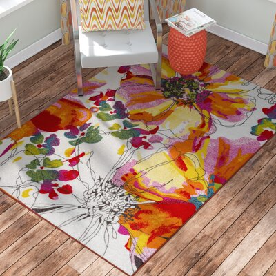Princess Bright Flowers Orange/White Area Rug Rug Size: 53 x 73