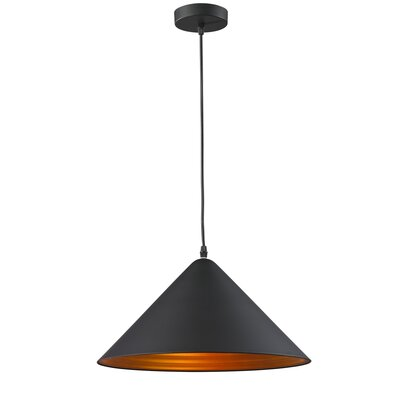 Simonne Aluminous 1-Light Inverted Pendant Finish : Black/Golden
