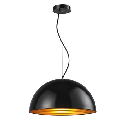 Sindy Aluminous 1-Light Inverted Pendant Finish : Black/Golden
