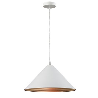Simonne Aluminous 1-Light Inverted Pendant Finish : White/Silver
