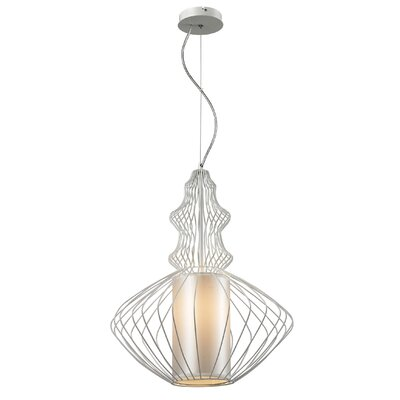 Hebb Iron 1-Light Foyer Pendant Shade Color: White