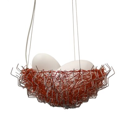 Verlie Metal 2-Light Bowl Pendant Shade Color: Red