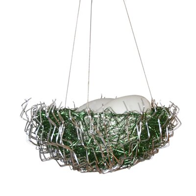 Verlie Metal 2-Light Bowl Pendant Shade Color: Green