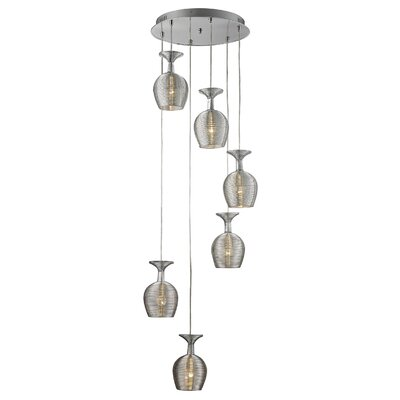 Itzel Metal 6-Light Cluster Pendant Shade Color: Silver