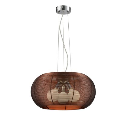 Jambusaria Metal 3-Light Drum Pendant Shade Color: Coffee
