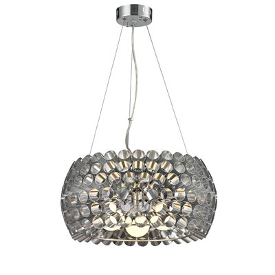 Shields Metal 3-Light Drum Pendant Shade Color: Silver
